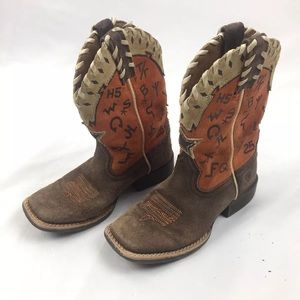 Ariat brown and orange boys boots 11.5 leather